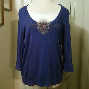 ONE WORLD purple embellished top blouse